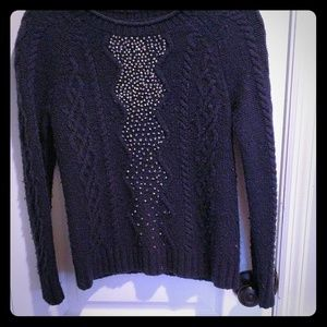 Beaded cableknit j.Crew sweater M